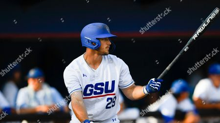 Stock Picture of Georgia State's Brandon Bell bats against Georgia Southern during an NCAA college baseball game, in Decatur, Ga