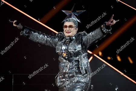 Stock Image of 2nd placed in 2007 Eurovision Song Contest in Helsinki, Verka Serduchka of Ukraine performing during the final dress rehearsal of the Eurovision Song Contest.