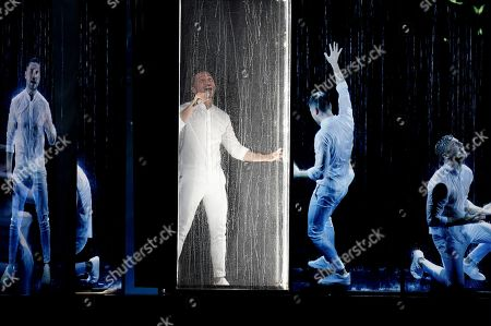 Sergey Lazarev of Russia performing during the final dress rehearsal of the Eurovision Song Contest.