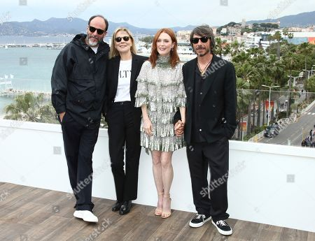 Luca Guadagnino, Marthe Keller, Julianne Moore, Pierpaolo Piccioli. Director Luca Guadagnino, from left, actresses Marthe Keller, Julianne Moore and creative director of the Maison Valentino Pierpaolo Piccioli pose for photographers at the photo call for the film 'The Staggering Girl' at the 72nd international film festival, Cannes, southern France