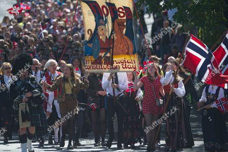 Norwegian National Day parade Edinburgh Stock Photos