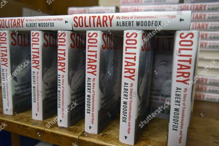 General view of books on display during Former 'Angola 3' inmate Albert Woodfox book signing at Books & Books.