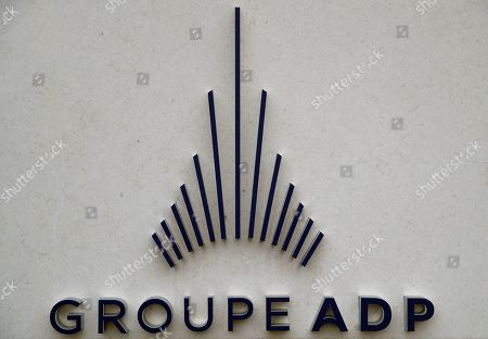 The logo of ADP Group (Aeroports de Paris) is pictured in Tremblay-en-France near Roissy airport outside Paris, . Paris Airports is the airport authority that owns and manages the fourteen civil airports and airfields in the Ile-de-France (Paris) area