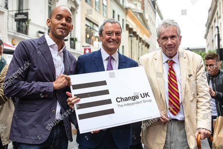 Change UK MP Chuka Umunna and MEP candidates Gavin Esler and Martin Bell pose for a photograph