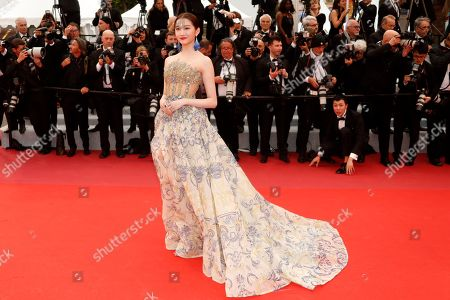 Guan Xiaotong arrives for the screening of 'Dolor y Gloria' (Pain and Glory) on top of a balcony during the 72nd annual Cannes Film Festival, in Cannes, France, 17 May 2019. The movie is presented in the Official Competition of the festival which runs from 14 to 25 May.