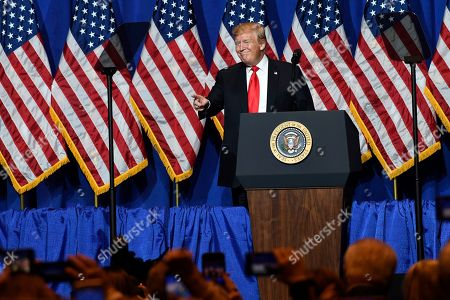 President Donald Trump speaks at the National Association of REALTORS Legislative Meetings and Trade Expo, Washington DC