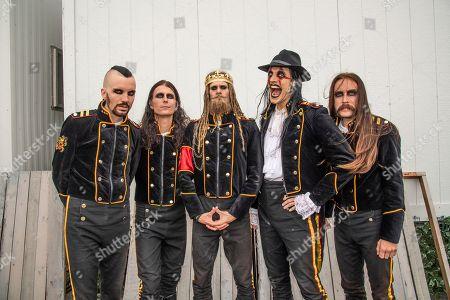 "John Alfredsson, Henrik Sandelin, Jonas ""Kungen"" Jarlsby, Johannes Eckerstrom, of Avatar pose at the Sonic Temple Art and Music Festival at Mapfre Stadium, in Columbus, Ohio"