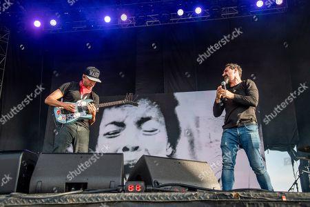 Tom Morello, Serj Tankian. Tom Morello, left, and Tom Serj Tankian of Systom of a Down performs at the Sonic Temple Art and Music Festival at Mapfre Stadium, in Columbus, Ohio