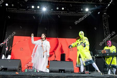 Nadezhda Tolokonnikova of Pussy Riot performs at the Sonic Temple Art and Music Festival at Mapfre Stadium, in Columbus, Ohio