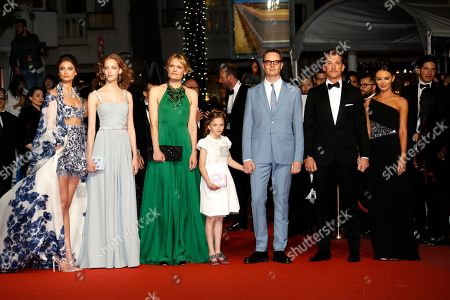 Taylor Hill, Lola Winding Refn, Liv Corfixen, Danish director Nicolas Winding Refn, Miles Teller and Keleigh Sperry arrive for the screening of 'Too Old to Die Young - North of Hollywood, West of Hell' during the 72nd annual Cannes Film Festival, in Cannes, France, 17 May 2019. The movie is presented out of competition at the festival which runs from 14 to 25 May.