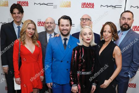 Kerry Butler, Alex Brightman, Sophia Anne Caruso and Leslie Kritzer with members of the creative team of 'Beetlejuice'