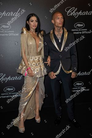 Andreea Sasu, Jeremy Meeks. Andreea Sasu and Jeremy Meeks pose for photographers upon arrival at the Chopard Love event at the 72nd international film festival, Cannes, southern France