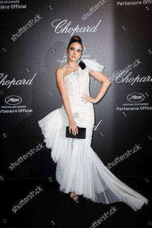 Stock Image of Dorra Zarrouk poses for photographers upon arrival at the Chopard Love event at the 72nd international film festival, Cannes, southern France