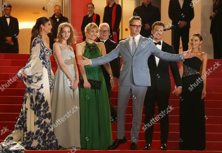 Stock Photo of Taylor Hill, Lola Winding Refn, Liv Corfiven, Nicolas Winding Refn, Miles Teller, Keleigh Sperry. Model Taylor Hill, from left, Lola Winding Refn, Liv Corfiven, director Nicolas Winding Refn, actor Miles Teller, and Keleigh Sperry pose for photographers upon arrival at the premiere of the film 'Too old to Die Young' at the 72nd international film festival, Cannes, southern France