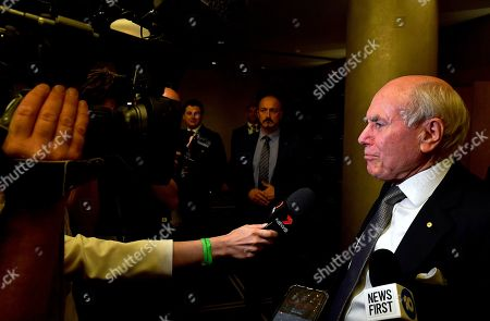 Former Australian Prime Minister John Howard arrives during the  count at the Federal Liberal Reception at the Sofitel-Wentworth hotel in Sydney, Australia, 18 May 2019. Approximately 16.5 million Australians will vote in what is tipped to be a tight election, contest between Prime Minister Morrison and Opposition Labor leader Shorten.