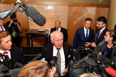 Former Australian Prime Minister John Howard speaks to the media on arrival at the  count at the Federal Liberal Reception at the Sofitel-Wentworth hotel in Sydney, Australia, 18 May 2019. Approximately 16.5 million Australians will vote in what is tipped to be a tight election, contest between Prime Minister Morrison and Opposition Labor leader Shorten.