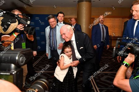 Stock Picture of Australian former prime minister John Howard embraces Lilly Stone on arrival during the  count at the Federal Liberal Reception at the Sofitel-Wentworth hotel in Sydney, Australia, 18 May 2019. Approximately 16.5 million Australians will vote in what is tipped to be a tight election, contest between Prime Minister Morrison and Opposition Labor leader Shorten.