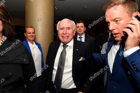 Australian former prime minister John Howard arrives during the count at the Federal Liberal Reception at the Sofitel-Wentworth hotel in Sydney, Australia, 18 May 2019. Approximately 16.5 million Australians will vote in what is tipped to be a tight election, contest between Prime Minister Morrison and Opposition Labor leader Shorten.