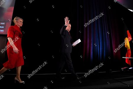 Australian Labor leader Bill Shorten (R) arrives on stage with wife Chloe (L), to concede defeat at the Federal Labor Reception at Hyatt Place Melbourne, Essendon Fields, in Melbourne, Australia, 18 May 2019. Approximately 16.5 million Australians voted in what is tipped to be a tight election, contest between Prime Minister Morrison and Opposition Labor leader Shorten.