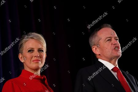 Australian Labor leader Bill Shorten (R) on stage with wife Chloe (L), concedes defeat at the Federal Labor Reception at Hyatt Place Melbourne, Essendon Fields, in Melbourne, Australia, 18 May 2019. Approximately 16.5 million Australians voted in what is tipped to be a tight election, contest between Prime Minister Morrison and Opposition Labor leader Shorten.