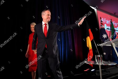 Australian Labor leader Bill Shorten (R) departs with wife Chloe (L) after conceding defeat at the Federal Labor Reception at Hyatt Place Melbourne, Essendon Fields, in Melbourne, Australia, 18 May 2019. Approximately 16.5 million Australians voted in what is tipped to be a tight election, contest between Prime Minister Morrison and Opposition Labor leader Shorten.