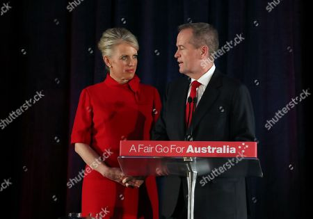 Bill Shorten (R) concedes defeat on stage next to his wife Chloe (L), during the federal Labor Reception on Election Day in Melbourne, Australia, 18 May 2019. Approximately 16.5 million Australians voted in what is tipped to be a tight election, contest between Prime Minister Morrison and Opposition Labor leader Shorten.