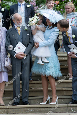 Prince Michael of Kent, Sophie Winkleman, Lord Frederick Windsor with Isabella Windsor.