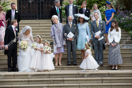 Tom Kingston, Lady Gabriella Windsor, Princess Michael of Kent, Prince Michael of Kent, Sophie Winkleman, Lord Frederick Windsor with Isabella Windsor and Maud Windsor.