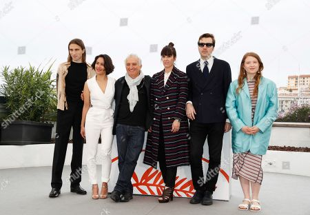 French actor Baptiste Pinteaux, French set designer Laura Poulvet, French actor Marc Susini, Spanish actress Montse Triola, Spanish director Albert Serra and French actress Iliana Zabeth pose during the photocall for 'Liberte' at the 72nd annual Cannes Film Festival, in Cannes, France, 18 May 2019. The movie is presented in the section Un Certain Regard of the festival which runs from 14 to 25 May.
