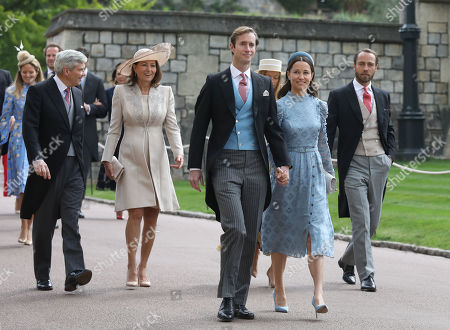 Michael and Carole Middleton, James Matthews, Pippa Middleton and James Middleton arrive ahead of the wedding at St George's Chapel in Windsor Castle.
