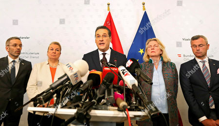 Austria's Vice-Chancellor Heinz Christian Strache (C) of the Austrian Freedom Party (FPOe) gives a statement to journalists as (L-R) Interior Minister Herbert Kickl, Labour Minister Beate Hartinger-Klein, Foreign Minister Karin Kneissl, and Transport Minister Norbert Hofer listen in the Ministry of Public Service and Sport in Vienna, Austria, 18 May 2019. Austrian Vice Chancellor Strache on 18 May 2019 said he will step down from his post as media caught the far-right FPOe's leader Strache in a corruption allegations scandal. German media have on 17 May 2019 published a secretly recorded video of Strache in Ibiza in July 2017, where Heinz-Christian Strache is claimed to meet an alleged niece of a unknown Russian oligarch who wanted to invest large sums of money in Austria.