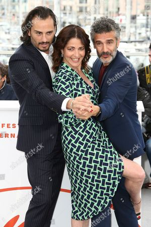 Asier Etxeandia, Nora Navas, Leonardo Sbaraglia. Actors Asier Etxeandia, from left, Nora Navas, and Leonardo Sbaraglia pose for photographers at the photo call for the film 'Pain and Glory' at the 72nd international film festival, Cannes, southern France