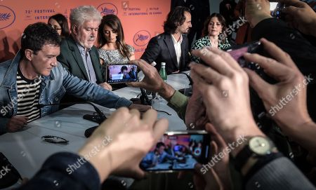 Antonio Banderas, Spanish director Pedro Almodovar, Spanish actress Penelope Cruz, Spanish actor Asier Etxeandia and Spanish actress Nora Navas attend the press conference for 'Dolor y Gloria' (Pain and Glory) during the 72nd annual Cannes Film Festival, in Cannes, France, 18 May 2019. The movie is presented in the Official Competition of the festival which runs from 14 to 25 May.