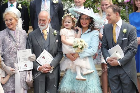 Princess Michael of Kent, Prince Michael of Kent, Sophie Winkleman and Lord Frederick Windsor after the wedding at St George's Chapel