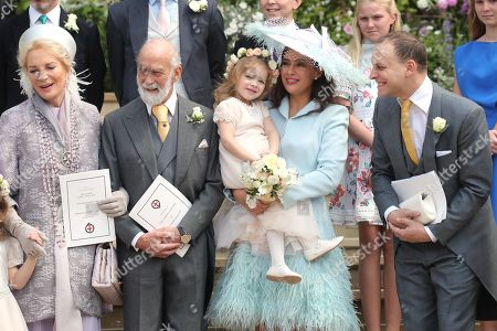 Princess Michael of Kent, Prince Michael of Kent, Sophie Winkleman and Lord Frederick Windsor after the wedding