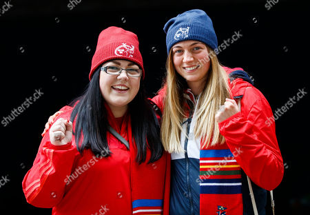 Leinster vs Munster. Munster fans Sinead O'Regan and Lauren Kelly from Waterford