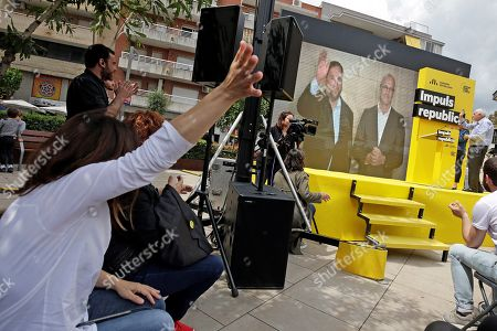 Editorial photo of Junqueras and Romeva in video conference from prison, Sant Vicent Dels Horts, Spain - 18 May 2019