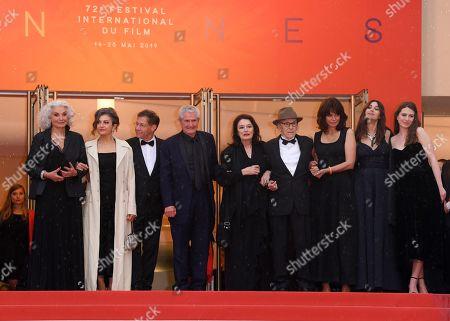 Stock Photo of Souad Amidou, Antoine Sire, Claude Lelouch, Anouk Aimee, Jean-Louis Trintignant, Marianne Denicourt, Monica Bellucci and Tess Lauvergne