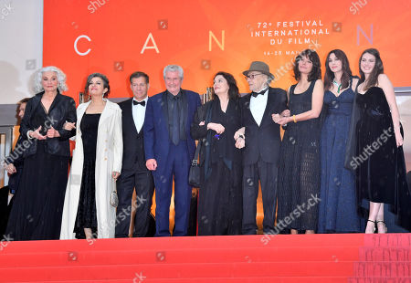 Stock Picture of Claude Lelouch, Anouk Aimee, Jean-Louis Trintignant, Marianne Denicourt, Monica Bellucci and Tess Lauvergne