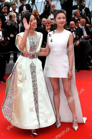 Stock Picture of Kwai Lun-Mei (L) and Chinese actress Regina Wan leave the screening of â??Nan Fang Che Zhan De Ju Hui' (The Wild Goose Lake) during the 72nd annual Cannes Film Festival, in Cannes, France, 18 May 2019. The movie is presented in the Official Competition of the festival which runs from 14 to 25 May.