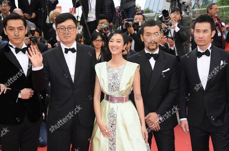 Liao Fan, Kwai Lun-Mei, Diao Yinan, Hu Ge, Wan Qian, Qi Dao. Actor Hu Ge, from left, director Diao Yinan, actors Wan Qian, Liao Fan and Dao Qi poses for photographers upon arrival at the premiere of the film 'The Wild Goose Lake' at the 72nd international film festival, Cannes, southern France