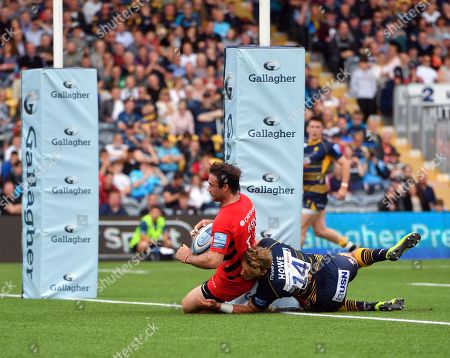 Stock Photo of Saracens' Marcelo Bosch scores his sides second try