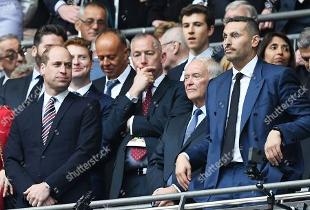 Stock Picture of Prince William (L), president of the English FA, and Manchester City chairman Khaldoon Al Mubarak (R) wait for the start of the victory ceremony after the English FA Cup final between Manchester City and Watford at Wembley Stadium in London, Britain, 18 May 2019. Manchester City won 6-0.