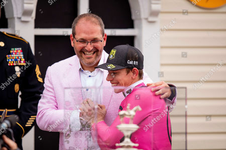 Baltimore, Maryland, U.S. - : Tyler Gaffalione with Gary Barber with wins the 144th running of the Preakness Stakes on War at Pimlico Racecourse in Baltimore, Maryland on May 18, 2019. Evers/Eclipse Sportswire/CSM