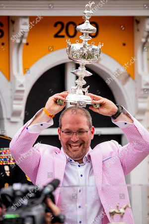 Baltimore, Maryland, U.S. - : Gary Barber celebrates winning the 144th running of the Preakness Stakes on War at Pimlico Racecourse in Baltimore, Maryland on May 18, 2019. Evers/Eclipse Sportswire/CSM