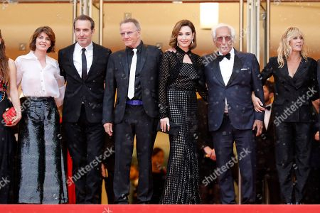 (2L-R) Jean Dujardin, Christopher Lambert, Elsa Zilberstein, Gerard Darmon and Mathilde Seignierarrive for the screening of 'Les Plus Belles Annees d'une Vie' (The Best Years of a Life) during the 72nd annual Cannes Film Festival, in Cannes, France, 18 May 2019. The movie is presented in the Official Competition of the festival which runs from 14 to 25 May.