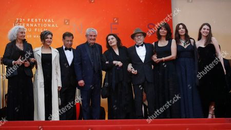 (3L-R) Antoine Sire, Claude Lelouch, Anouk Aimee, Jean-Louis Trintignant, Marianne Denicourt, Monica Bellucci and Tess Lauvergne arrive for the screening of 'Les Plus Belles Annees d'une Vie' (The Best Years of a Life) during the 72nd annual Cannes Film Festival, in Cannes, France, 18 May 2019. The movie is presented in the Official Competition of the festival which runs from 14 to 25 May.