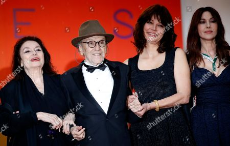 Anouk Aimee, Jean-Louis Trintignant, Marianne Denicourt, Monica Bellucci and Tess Lauvergne arrive for the screening of 'Les Plus Belles Annees d'une Vie' (The Best Years of a Life) during the 72nd annual Cannes Film Festival, in Cannes, France, 18 May 2019. The movie is presented in the Official Competition of the festival which runs from 14 to 25 May.