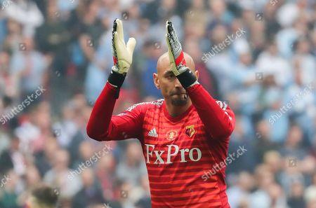 Heurelho Gomes of Watford applauds the fans