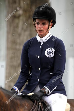Athina Helene Roussel Onassis of France prior to competing in the International Jump Contest held at the Campo Villa in Madrid, Spain, 18 May 2019, an event running from 18 until 19 May.